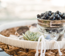 blueberries, basket, succulent plant, blanket, decor, spring, relaxation, eclectic, table decor, spring, relaxation, eclectic, table