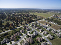 aerial view over a neighborhood.