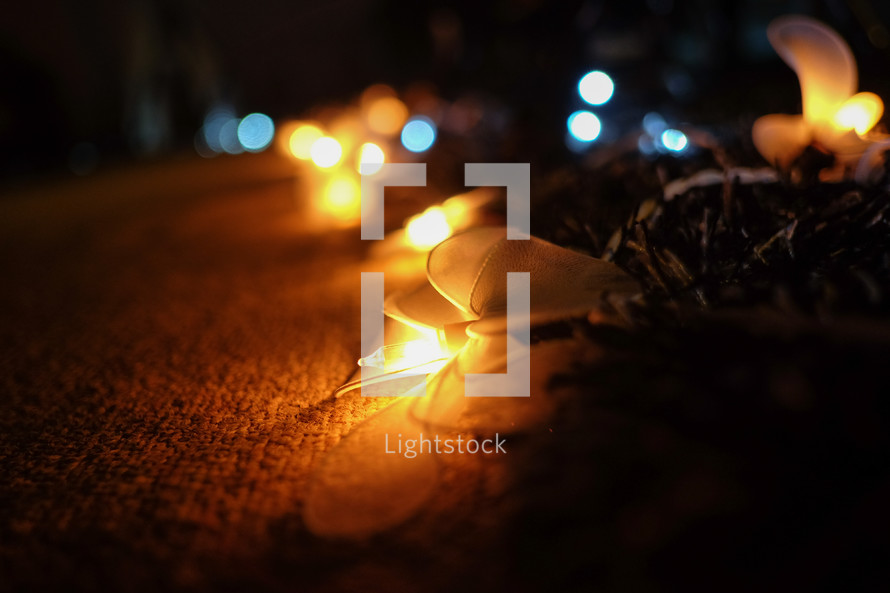 bokeh lights in darkness