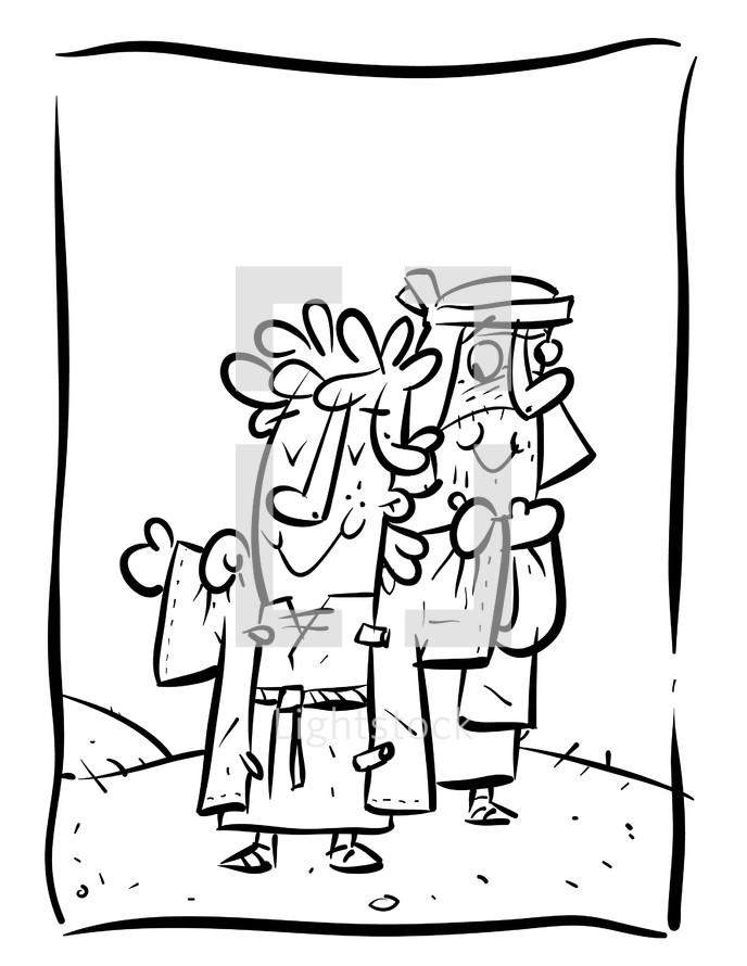 Joseph, coat, coat of many colors, illustration, biblical scene, biblical figure