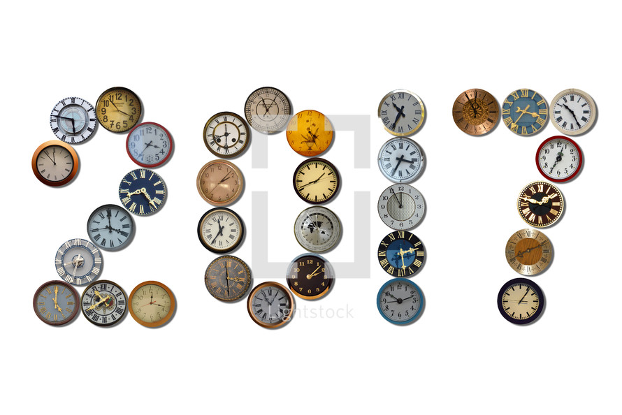 2017 spelled out with different clocks.