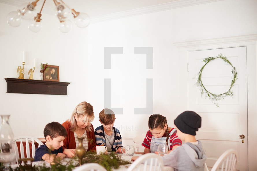 family time around the table during the holidays