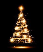 twinkling lights on a Christmas tree against a black background