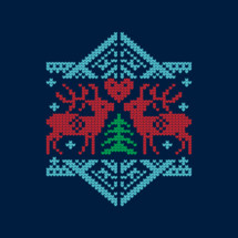 Winter deer in cross stitched hearts