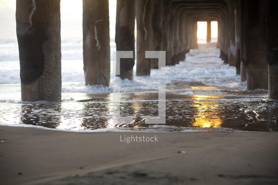 Waves under a pier