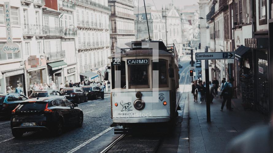 tram in a city