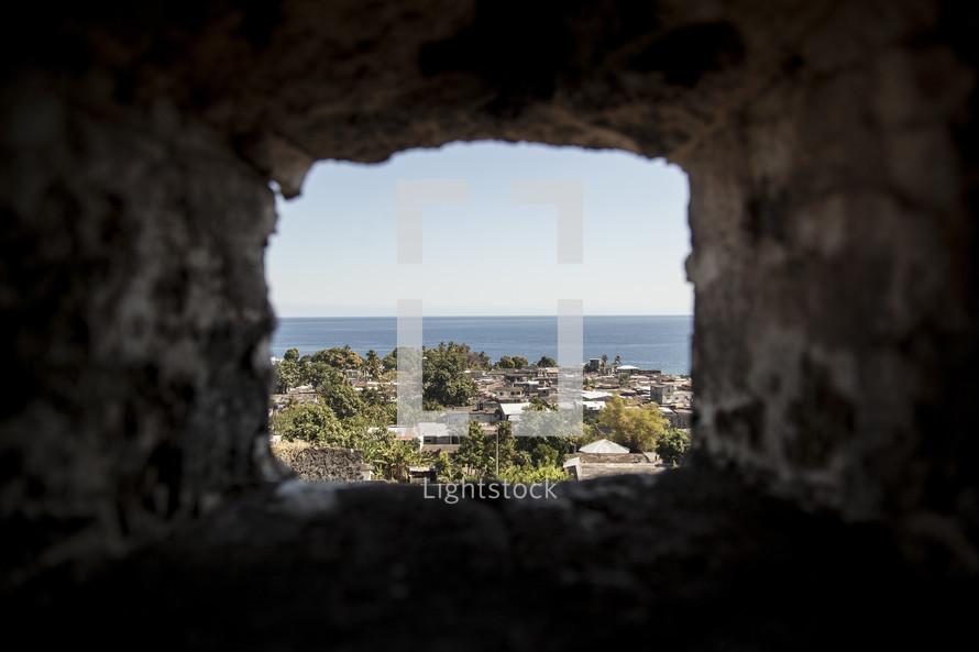 view through a primitive window