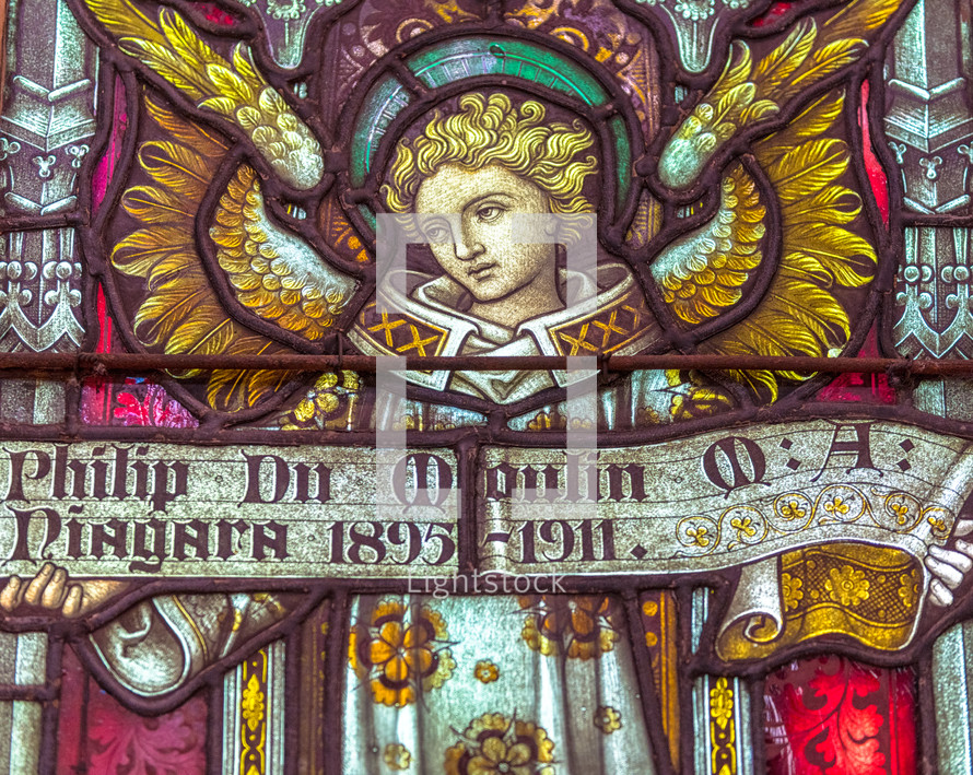 stained glass memorial to Philip Du Moulin  a Canadian Anglican bishop