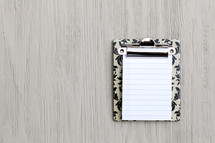 Clipboard with Blank Note Paper and Copy Space