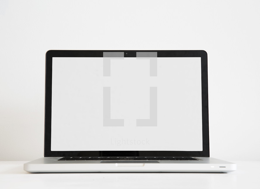 blank white screen on a laptop computer.