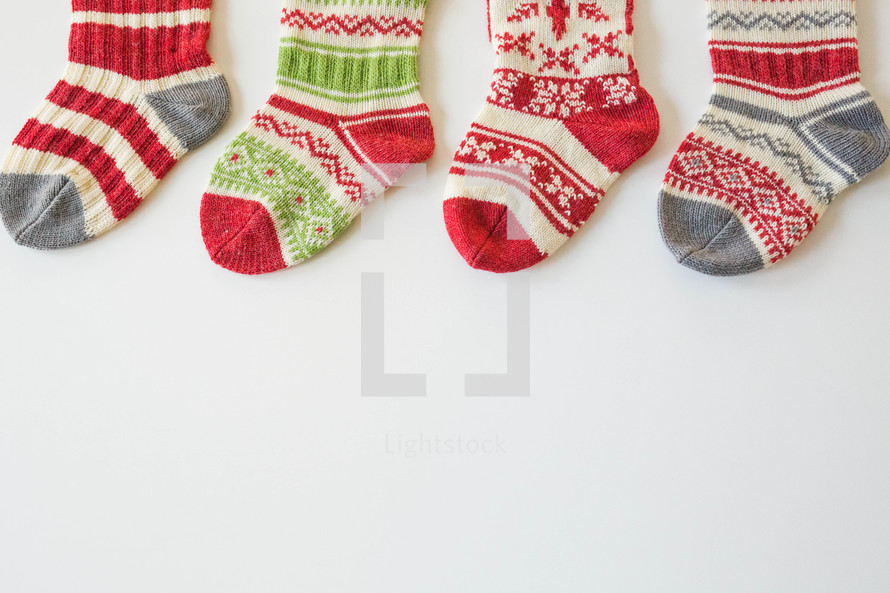 Christmas stockings on white