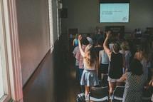parishioners worshiping at a worship service