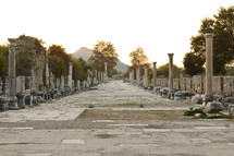ruins of Harbor Street in Ephesus Turkey