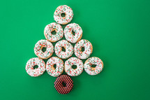 Christmas donuts in the shape of a Christmas tree