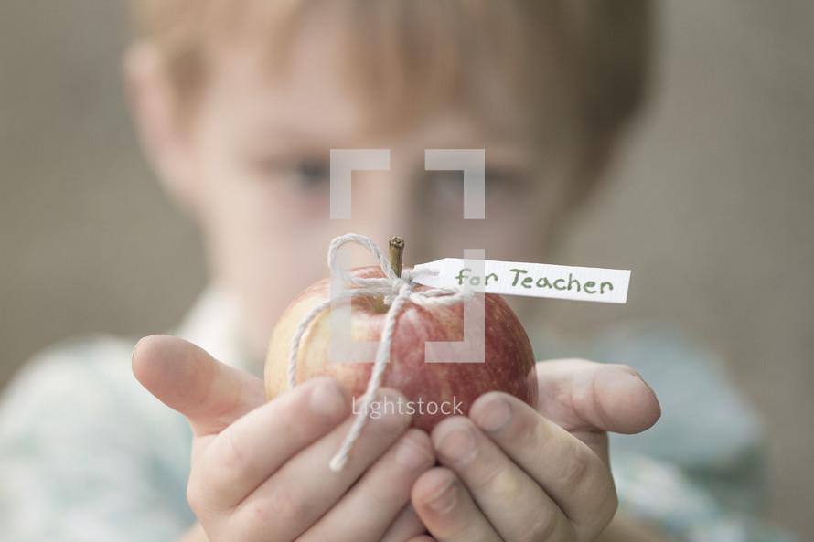 child holding an apple for the teacher