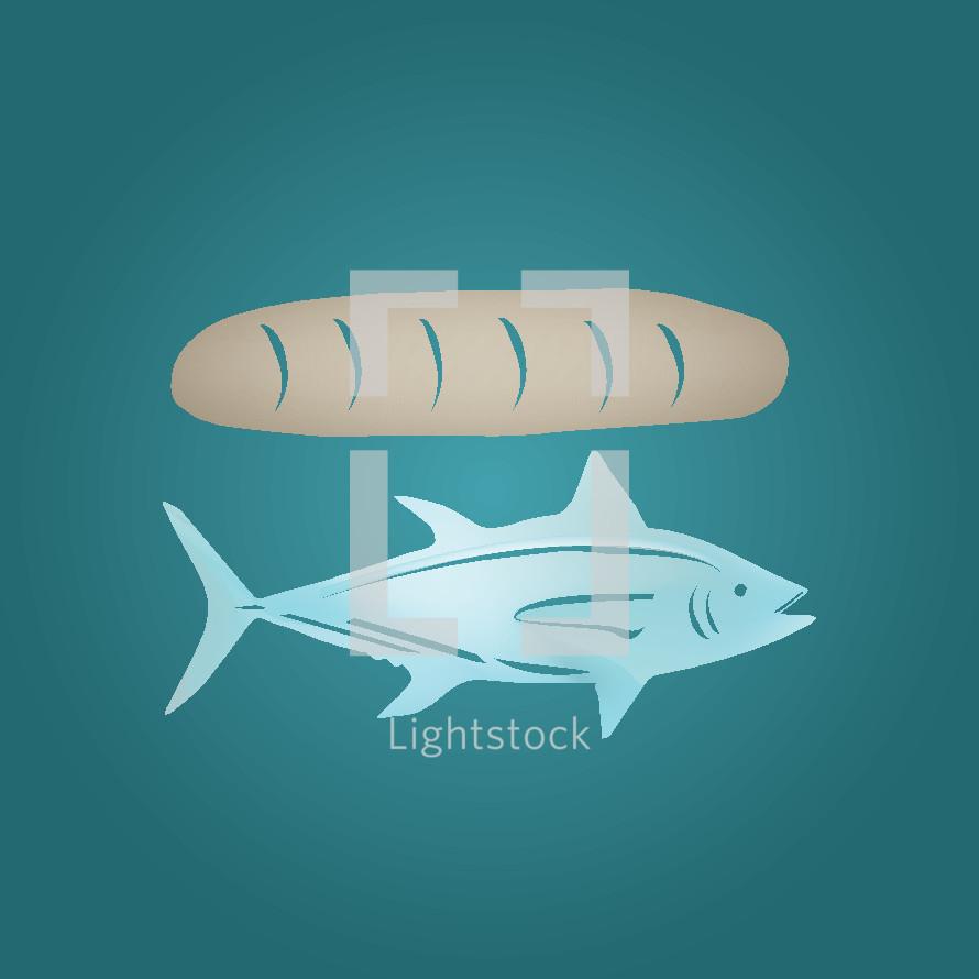 fish, bread, loaf, icon