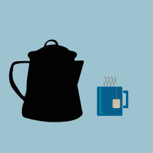 tea pot, tea bag, and mug