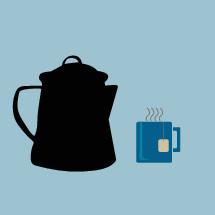 tea pot, tea bag, and mug