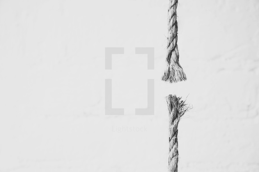 Frayed rope ends on a white background.