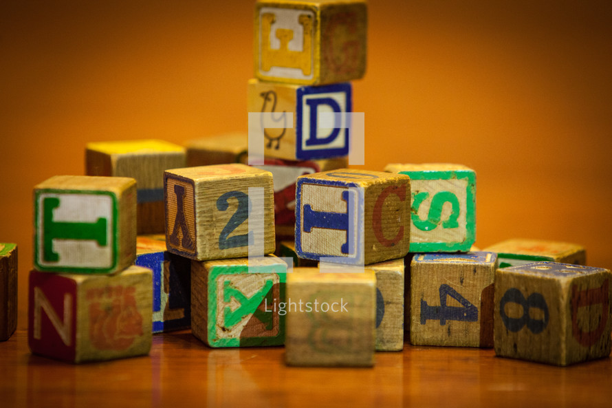 a stack of wood blocks
