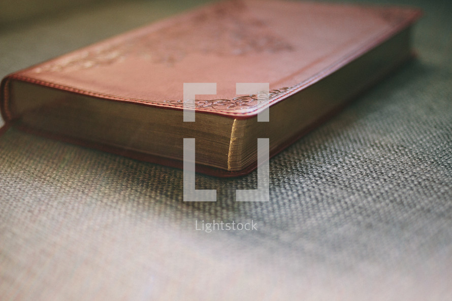 leather Bible on a couch
