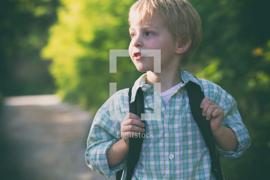 boy child with a backpack