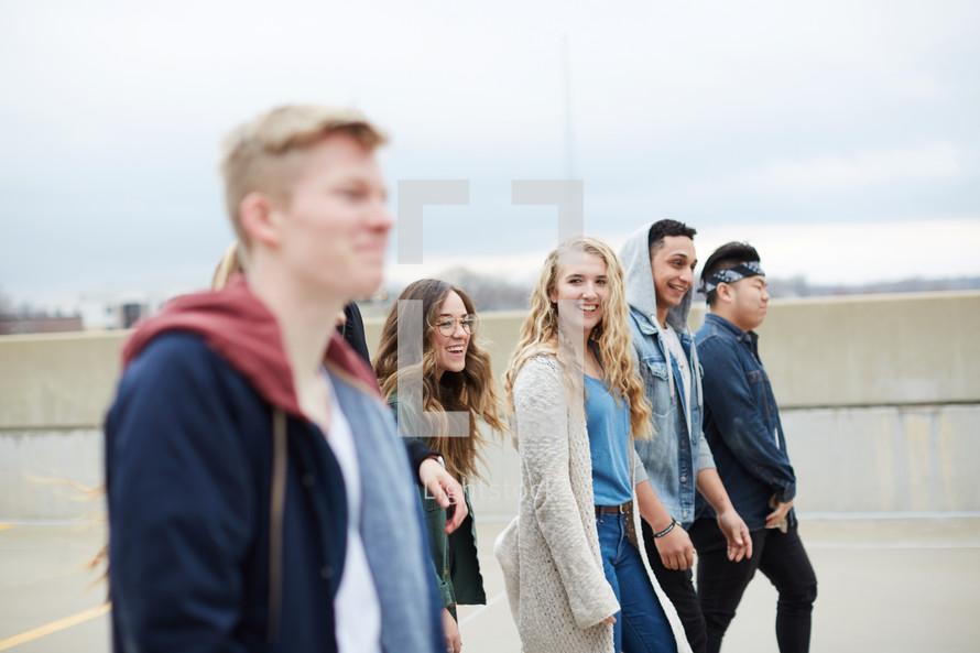 group of teens walking