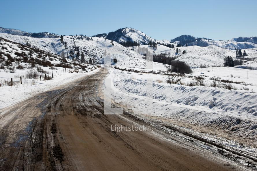 plowed road in winter