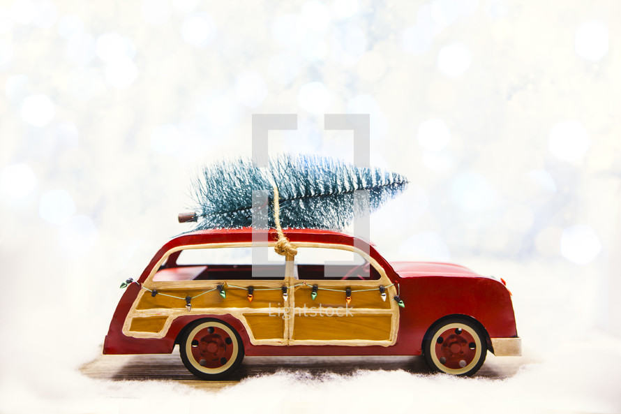 Christmas Tree on Retro Car with Copy Space