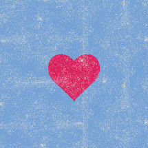 red heart on blue