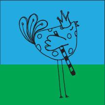 blue bird with crown