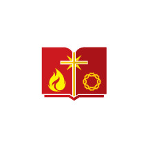 open Bible, red, yellow, crown of thorns, cross, icon, flame, Bible