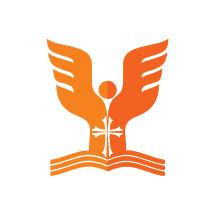 angel, cross, and open Bible