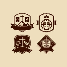 badges, cross, crown of thorns, dove, banner, globe, Bible, wheat, Jesus fish, missions, crown, mountain peak, shield