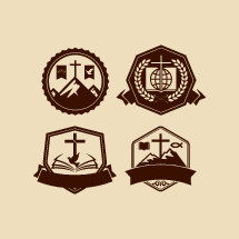 badges, cross, crown of thorns, dove, banner, globe, Bible, wheat, Jesus fish, missions, crown, mountain peak, icon