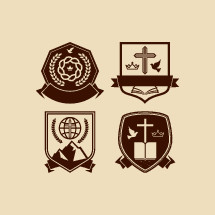 crown, badge, shield, cross, mountain, peak, banner, globe, missions, wheat, crown, crown of thorns, dove, Bible