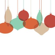 hanging Christmas ornaments.