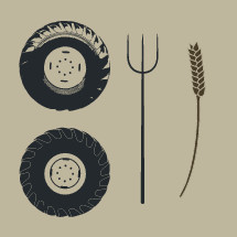 tractor wheels, pitch fork, wheat stalk, farm, illustration