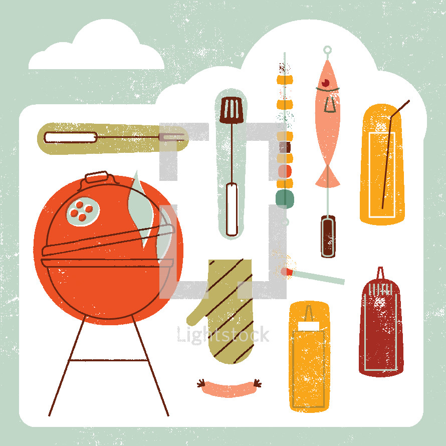 grilling, grill, ketchup, mustard, sausage link, oven mit, match, fish, kabob, drink, cookout, summer