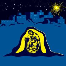 nativity, holy family, Mary, Joseph, baby Jesus, star, over, Bethlehem, star of Bethlehem, Christmas, Christmas eve, icon