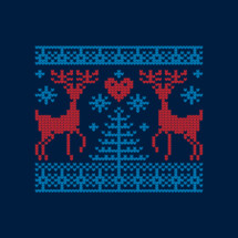 Christmas deer of cross stitched hearts