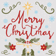 Merry Christmas lettering with hand drawn elements including a nativity with baby Jesus in a manger, Joseph and Mary, holly flowers, a star and snow flakes.