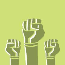 raised fists