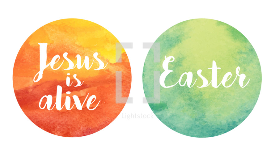 Vector watercolor texture with Easter lettering