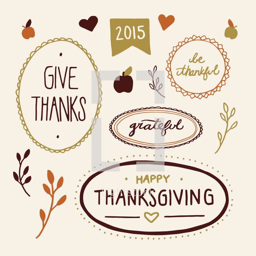 Happy Thanksgiving, words, lettering, fall, grateful, give thanks, be thankful, 2015, apples, script, hand drawn lettering, badge, foliage, hearts