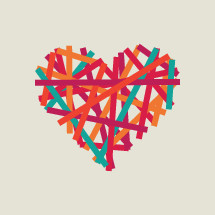colorful abstract banded heart.