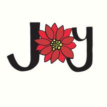 word joy with poinsettia