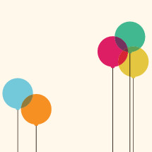 five colorful balloons illustration.