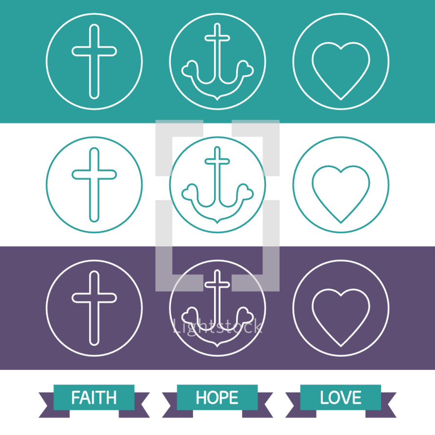 faith, hope, love, cross, icon, badges, icons, heart