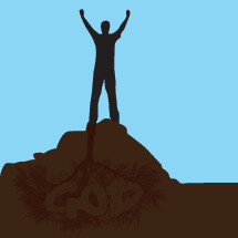 man on a rock with raised hands icon